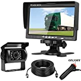 Emmako Backup Camera and 7 Display Monitor Kit For Truck/Camper/RV/Motorhome 66 Foot 4-Pin Cable Waterproof Night Vision Reverse Camera Single Power For Whole System Rear View/Constantly View Optional