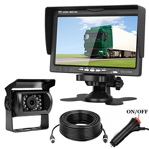Emmako Backup Camera and 7 Display Monitor Kit For Truck/Camper/RV/Motorhome 66 Foot 4-Pin Cable Waterproof Night Vision Reverse Camera Single Power For Whole System Rear View/Constantly View Optional -