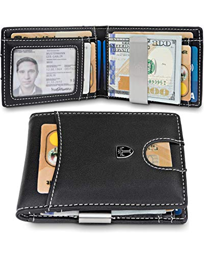 TRAVANDO Slim Wallet with Money Clip SEATTLE RFID Blocking Card Mini Bifold Men (Black & White)