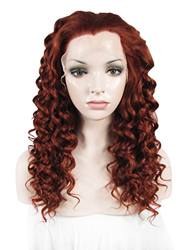 Replacement Firebrick (Lace Wig Long Firebrick Curly Heat Resistant Synthetic Lace Front Wig For Women)