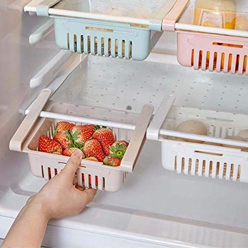 JIPPCO Fridge Organizer Drawer Basket Refrigerator Kitchen Rack Adjustable Stretchable Storage Holder Plastic Fridge Space Saver Food Organizer Tray Pack of -2