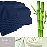 Bamboo Living Eco Friendly Egyptian Comfort Bedding 6 Piece Sheet Set (w/4 Pillowcases) (Double/Full, Navy Blue)