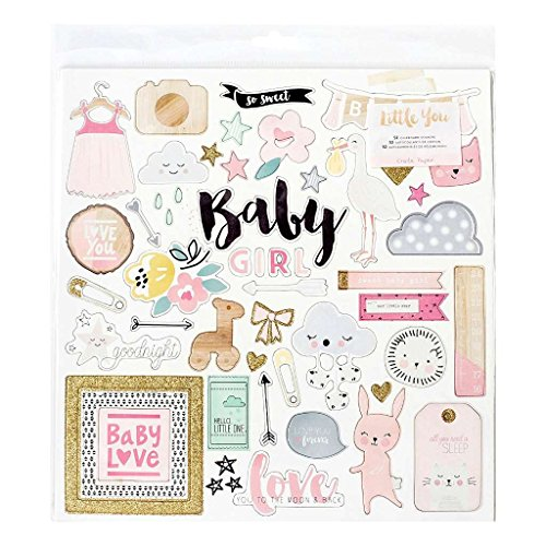 Crate Paper Little You Glitter Girl Chipboard, Gold Baby Chipboard