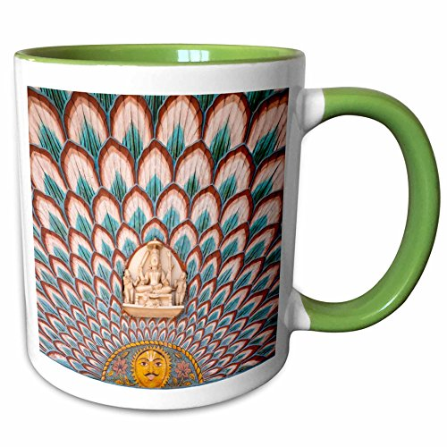 3dRose Danita Delimont - Palaces - Decoration in City Palace, Jaipur, Rajasthan- AS10 KSU0446 - Keren Su - 15oz Two-Tone Green Mug (mug_132642_12)
