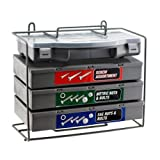 Handyman's Dream Hardware Assortment - Giant 1,200pc Nut Bolt Washer Storehouse SAE & Metric - 4 Organizer Cases - Bench Stand or Wall-Mount