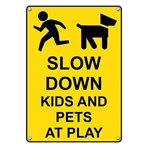 Weatherproof Plastic Vertical Slow Down Kids And Pets At Play Sign with English Text and Symbol by SignJoker