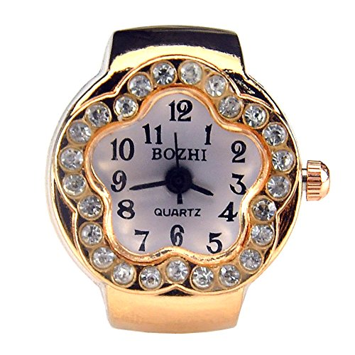 Crystal Stretch Quartz Watch (Womens Rose Gold Silver Crystal Quartz Finger Ring Watch with Gift Box (Gold Plum Blossom))