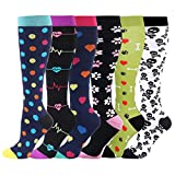 HLTPRO Compression Socks for Women & Men - 6 Pairs 20-30 mmHg for Travel, Running, Medical