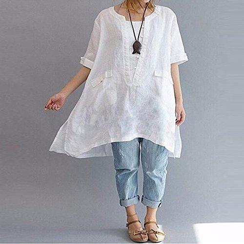 Donna Magliette Weant Shirt Sportivo Cotone da Sportive Tunica T T Camicie Manica Camicie Vestiti Shirt Elegante Donna Taglie Bluse Casual Bianco Estivi Donna Forti Abbigliamento Donna Sn8Fr7Swq6