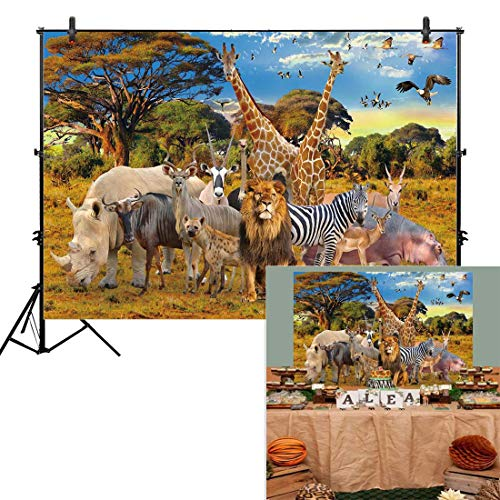 Allenjoy 7x5ft Jungle Animal Backdrop for Summer Tropical Desert African Forest Safari Scenic Party Photography Pictures Decoration Event Table Decor Banner Background Children Photo Booth Shoot]()