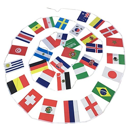 BESTOYARD 2018 World Cup Top 32 Flags Banner National Flags Banner Printed Flags for Home Party Pub Fan's Club (Printed Fans Favors)