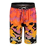 Feelingwear Mens Surf Board Shorts For Cruise Vacation Summer Beach Swim Trunks Drawstring Bathing Suit Colourful Camo US M=Tag Size XL(Waist:30''-32'')