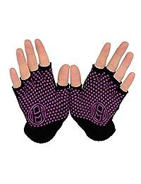Mato & Hash Yoga Pilates Fingerless Exercise Grip Gloves - Black/Radiant Orchid