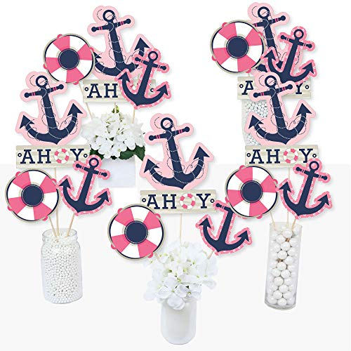 Ahoy - Nautical Girl - Baby Shower or Birthday Party Centerpiece Sticks - Table Toppers - Set of 15]()