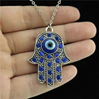 9-3 18 Silver Chain Collar Necklace Blue Rhinestone Evil Eye Hamsa Hand Pendant