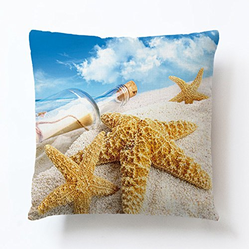 Toplano Summer Beach Happy Place Cotton Linen Home Decorative Throw Pillow Cushion Cover Pillowslip Case with Sea, Starfish, Seashell, Sunshine Pattern for Couch Sofa Bed Chair 18