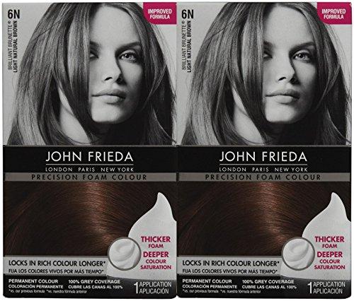 John Frieda Precision Foam Hair Colour, Light Natural Brown 6N, 2 pk - Professional Hair Colour