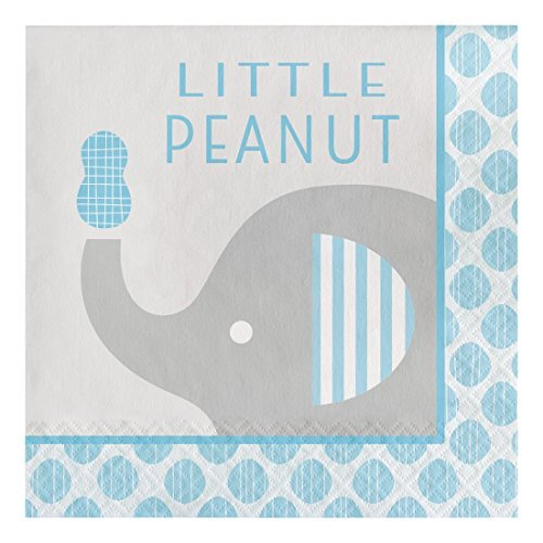 Creative Converting 316934 Paper Lunch Napkins, Little Peanut Elephant - Boy (48 Count Pack)