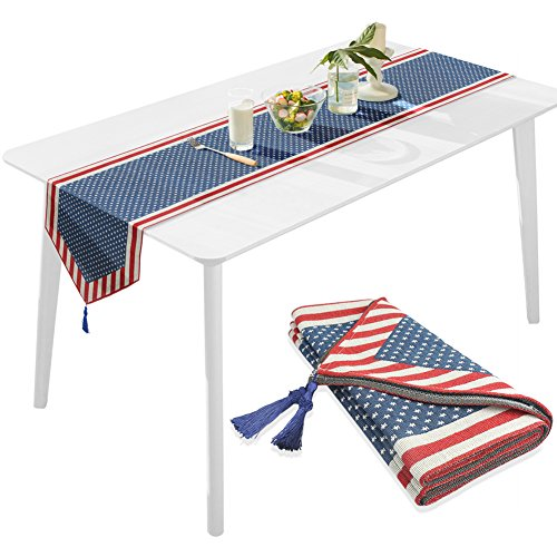 Table Runner American Flag Cotton Linen Cloth for Office Kitchen Dining Wedding Party Home Decor Christmas Independence Day (American -