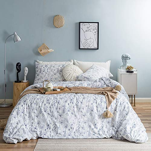 SUSYBAO 3 Piece Duvet Cover Set 100% Natural Cotton Queen Size Navy Botanical Flower Bedding Set with Zipper Ties 1 White Floral Duvet Cover 2 Pillowcases Hotel Quality Soft Luxurious Breathable (Bedding Floral And White Navy)