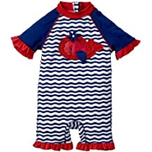 Sportoli Girls Boys Baby Short Sleeve Sun Protective One Piece Swim Suit Swimsuit Sunsuit Rash Guard Rashguard Romper
