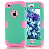 iPhone SE Case, iPhone 5/5S Case, Speedup 3 in 1 Armor Heavy Duty Rugged Slim Dual Layer Lightweight Shockproof Hard PC Back+Silicon Inner Bumper Protective Cover Case for iPhone 5/5S/SE (Mint / Pink)