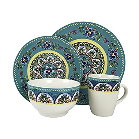 Santa Fe Springs Garden Hippie Chic Multicolored Stoneware 16-piece Dinnerware Set  sc 1 st  Amazon.com & Amazon.com: NEW! Santa Fe Springs Garden Hippie Chic Multicolored ...