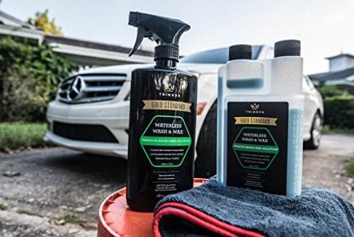 Waterless Car Wash And Wax Kit Bug Remover Clean And Protect Paint Of Truck SUV Boat RV Or Vehicle With One Quick Application Concentrated Formula For Best Value TriNova