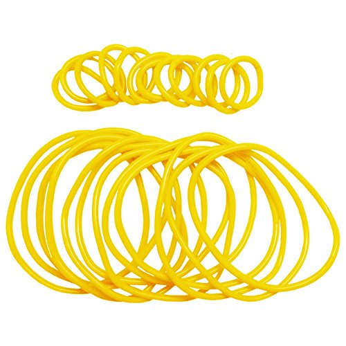 Jelly Yellow Bracelet (Girlprops 12 Rubber Jelly Bracelets with 12 Rings, Yellow in Yellow)