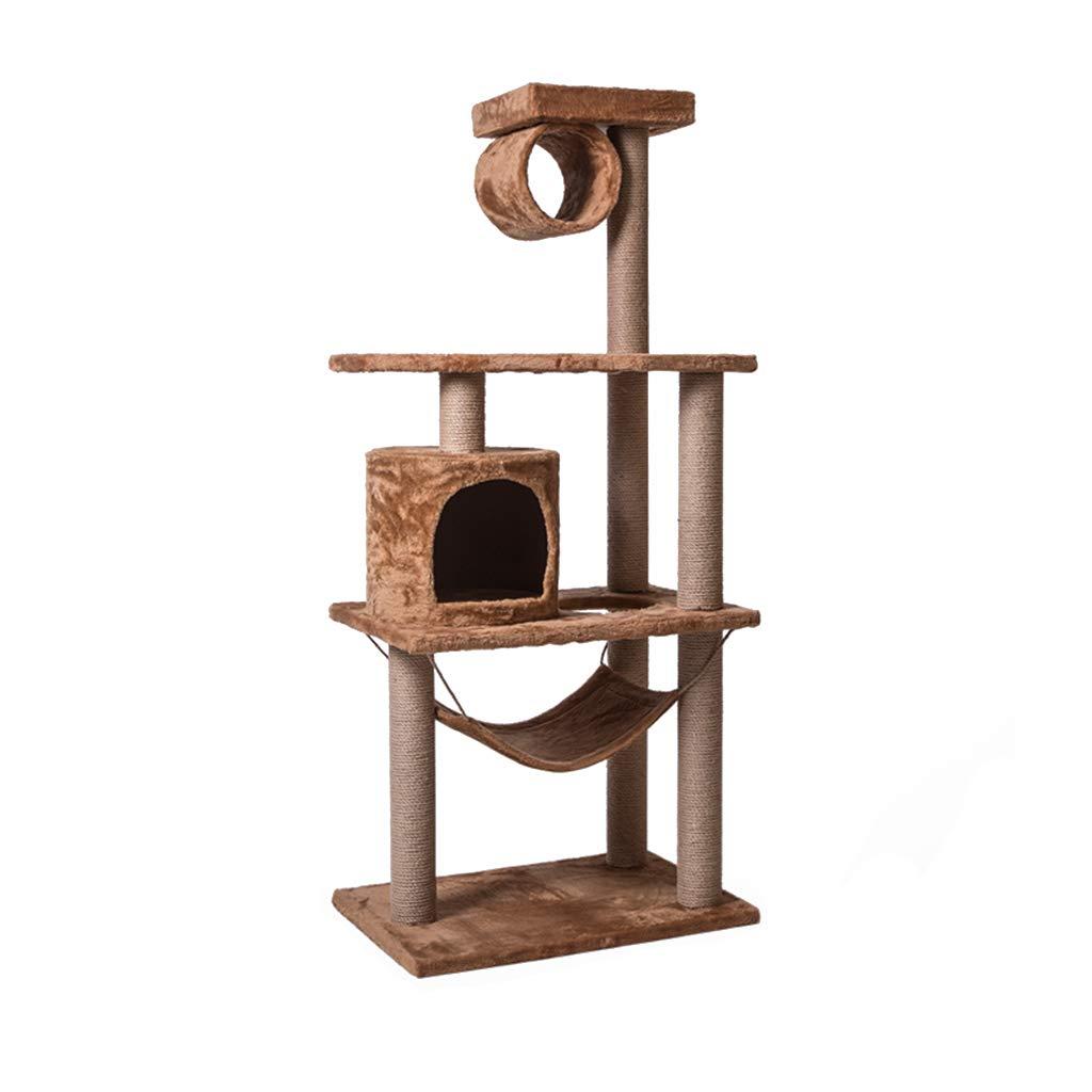 Beige 40cm60cm137cm Beige 40cm60cm137cm Sile Cat Tree, Large Cat Climbing Frame with Cat House and Hammock Activity Center Cat Scratch Board SL-003 (color   Beige, Size   40cm60cm137cm)