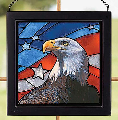 Darby Creek Trading American Flag Bald Eagle Patriotic Stained Glass Art Hanging Panel (Glass Eagle Stained Bald)