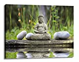 YYL ART-Large Yoga Wall Art Canvas Modern Large Buddha Wall Art Print On Canvas Statue With Stone Beside The River Keep Inner Peaceful Buddha Meditation Canvas Art For Living Room Yoga Room
