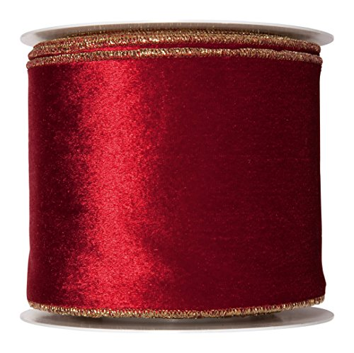 FloristryWarehouse Wine Red Christmas Velvet fabric ribbon 4 inches wide x 9 yards roll Gold Wired edge (Velvet Christmas Ribbon)