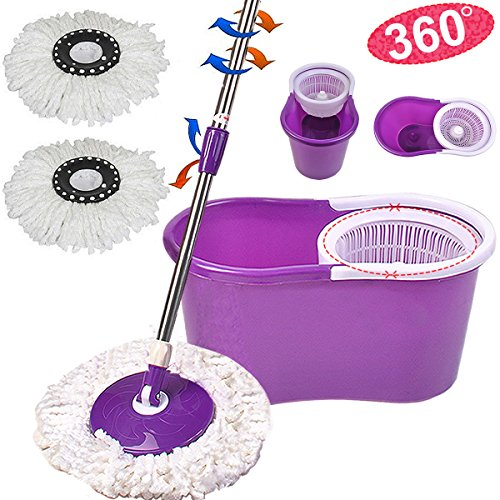 Microfiber Spining Demonolatry Spin Mop W/Bucket 2 Heads Rotating 360° Easy Floor Mop Washable Plastic Handle Great Wet Or Dry Machine Washable Mark New (Purple)