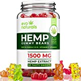 Evo Naturals Gummies - 1500 MG Natural Hemp Extract - 25 MG per Serving - Relaxing, Pain Relief, Stress & Anxiety Relief - Sleep Better! - Rich in Omega 3,6,9 & Vitamin A, E - Made in USA