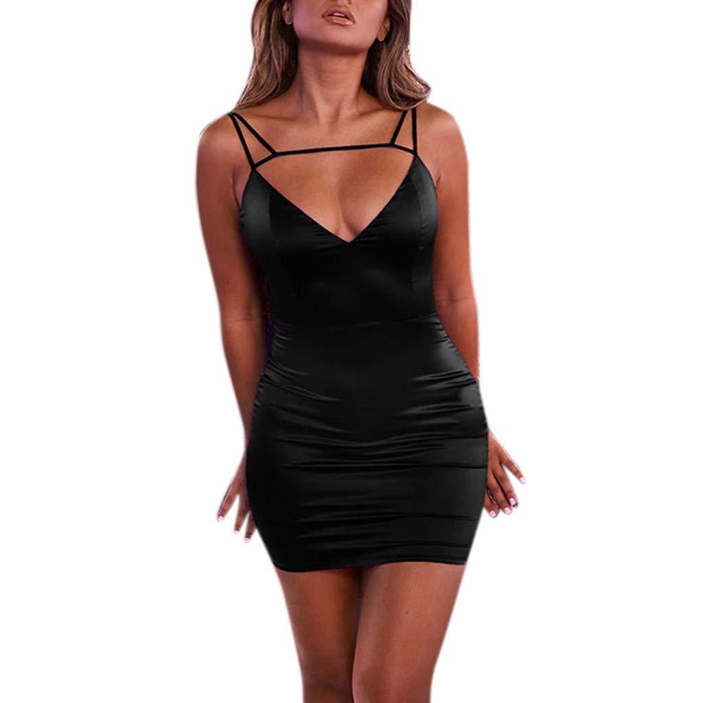 Sexy Womens Dress Fashion Ladies Solid Corlor Hollow Cat V-Neck Slim Mini Dress Party Club Evening Dress Black