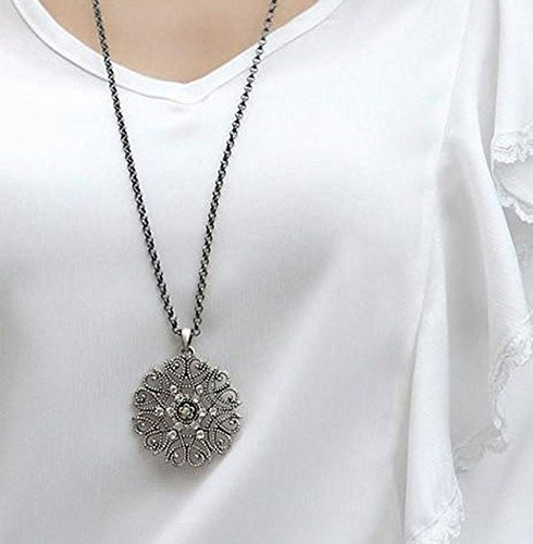(Gimax Hot Sale Silvery Black Hollow Flower Pendent Necklace Set Auger Sweater Woman Fashion Jewelry Gift - (Metal Color:)