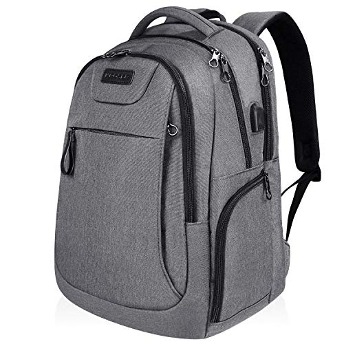 KROSER Laptop Backpack 17.3 Inch Large Computer Backpack School Backpack Casual Daypack Water-Repellent Laptop Bag with USB Charging Port for Travel/Business/College/Women/Men-Grey