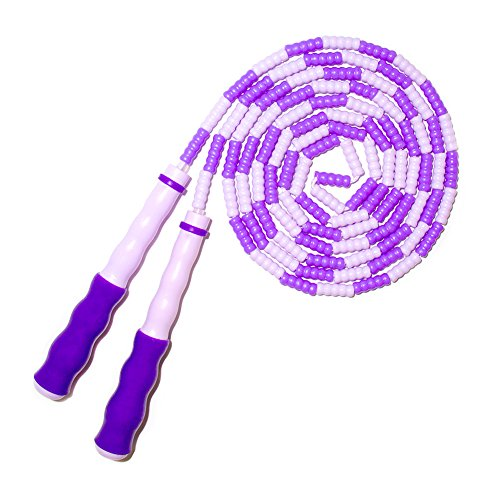EAGLO Adjustable Jump Ropes for kids & Adult - Rainbow Skipping Rope with Plastic Beaded Segmentation - Boxing MMA Fitness - 8.8ft Purple]()