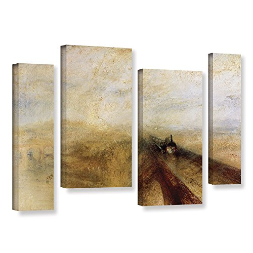 ArtWall William Turner's Rain Steam & Speed The Great Western Railway II 4 Piece Gallery-Wrapped Canvas Staggered Set, 24 by 36