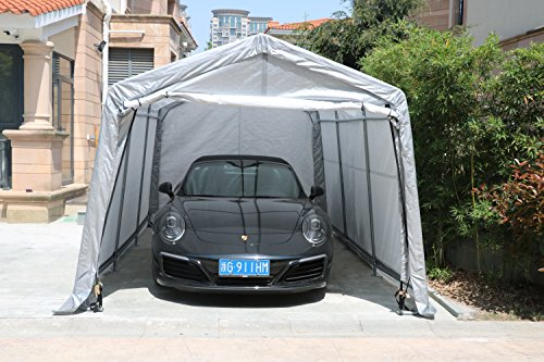 Sliverylake Auto Storage Shelter Car Garage Steel Carport Canopy Tent (10×15×8ft, Gray) by Sliverylake