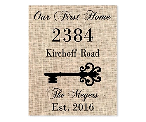 Our First Home Print with House Address, Housewarming Gifts for New Home, Custom Burlap Print with Last Name, Address and Established Year (Year Established)