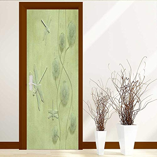 TextileLIHome Static Cling Glass Film with Flowers and Dragonflies Privacy Window Film Decorative Window Film W23.6 x H78.7 by TextileLIHome