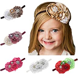 FloYoung Handmade Satin Ribbon Flower Baby Headbands for Kids Accessoires 5 Colors