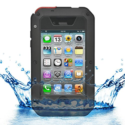 iPhone 4 / 4s - iProtect Outdoor Case Custodia per esterno custodia protettiva vetro blindato anti Shock- anti sporcizia in nero