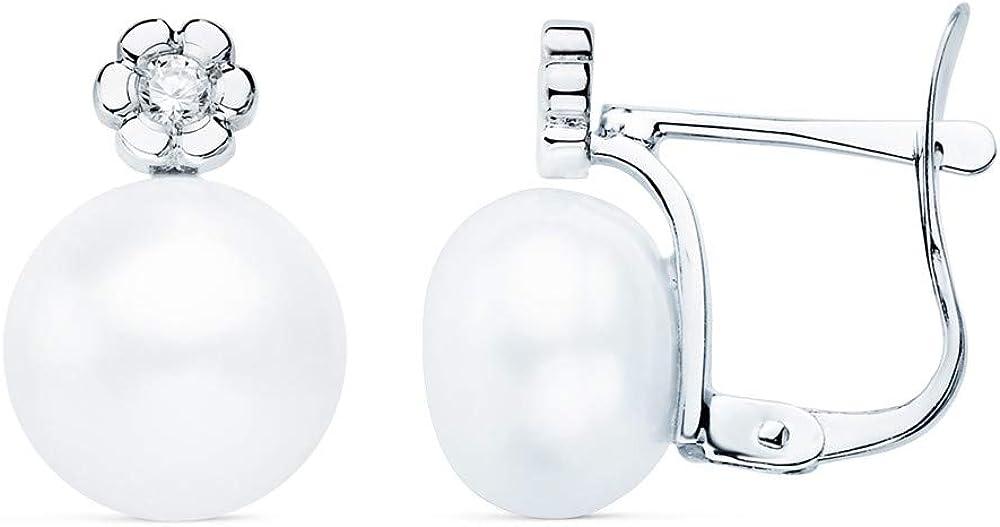 Pendientes oro blanco 18k tu y yo 13mm flor centro diamantes 0.06ct brillantes perlas cierre catalán