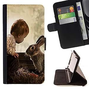 Dragon Case- Mappen-Kasten-Prima caja de la PU billetera de cuero con ranuras para tarjetas, efectivo Compartimiento desmontable y correa para la mu?eca FOR Samsung Galaxy S3 III I9300 I9308 I737- Rabbit Cute Bady