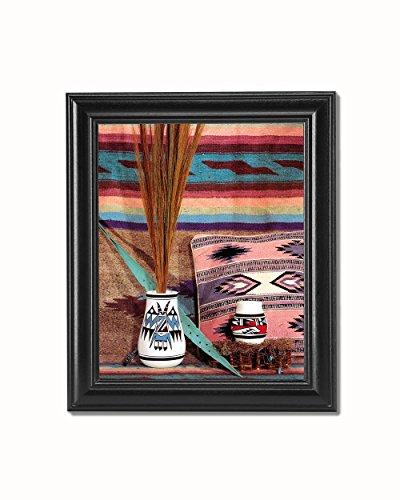 Pottery Southwestern American Native (Southwestern Native American Indian Pottery #1 Black Framed 8x10 Art Print)