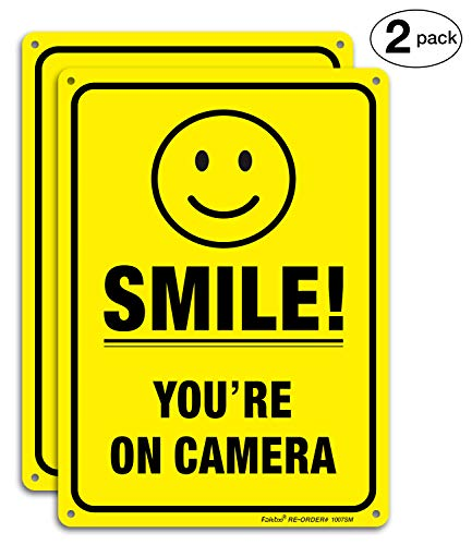 (2 Pack) Smile You're On Camera Video Surveillance Sign - 10
