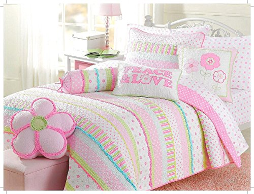 Soft Cotton Bright Greta Pastel Design Girls Bedding Quilt Set 3-pcs, Full/Queen by Cozy Line Home Fashions Dot Cotton Quilt